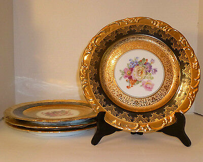 Royal China French Limoges set 4 Heavy Gold & Black Service or Dinner Plates