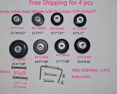 Free Shipping 4 PCS Replacement Luggage Spinner Wheels Dia:45*19MM