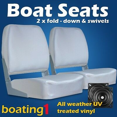 2 Deluxe Boat Seats Grey With Swivels
