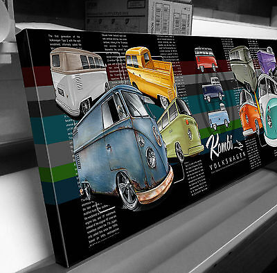 Kombi Volkswagen Vw Transporter Stretched Canvas Print Ready To Hang
