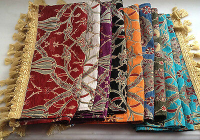 """Floral Tulip Pattern Table Runner with Tassels 85""""x17"""" French Country Style"""