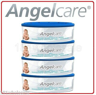 4 X Angelcare Angel care Refill Cassette Replacement bag Nappy Disposal System