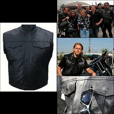 Veste Gilet cuir Biker Type Sons of Anarchy leather vest chaleco