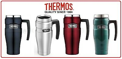 ❤ Thermos STAINLESS STEEL VACUUM Insulated Travel Mug with Handle 500ml Blue Red