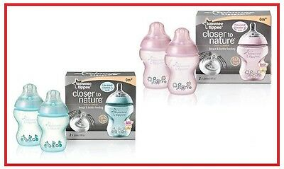 ❤ Tommee Tippee Closer to Nature 260ml 2 Bottles + Teat Decorated PINK/BLUE ❤