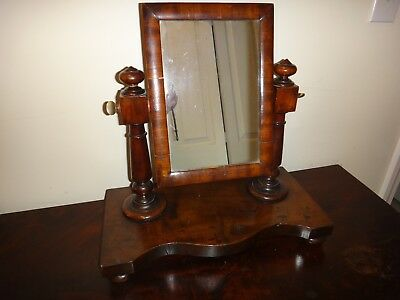 Antique Early American Mahogany Dresser Shaving Mirror Sheridan Period 18th Cent
