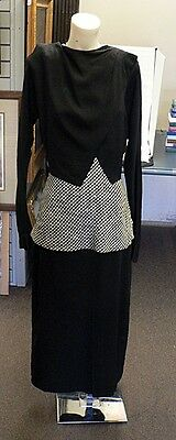 VINTAGE BLACK CREPE DRESS WITH BLACK & WHITE CHECKERED PEPLUM SKIRT SIZE SMALL