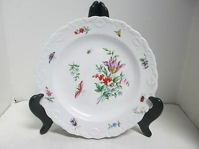Vintage Blue Marked Meissen Floral & Insect Scalloped Small Plates ( 2 ).