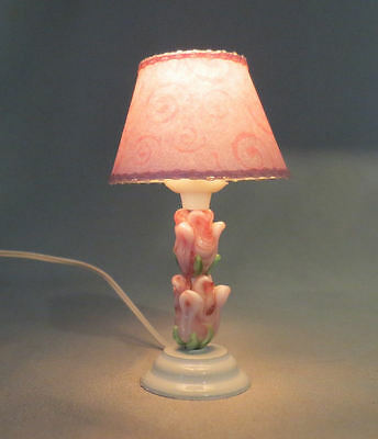 Dollhouse Miniature Shabby Chic Pink Tulips Ceramic Table Lamp Lighted Light New
