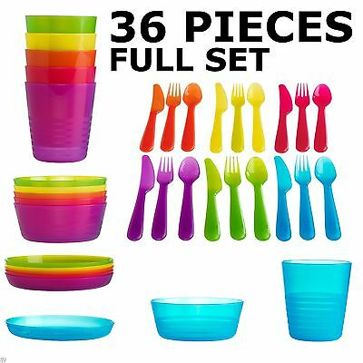 Ikea Kalas Children's Plastic 36 Piece Cutlery Set Kids Bowls Plates Cups