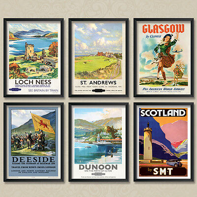 A4 Vintage Travel Posters: Scotland Scottish Poster Set