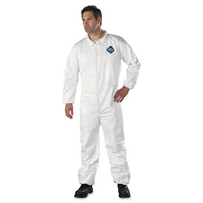 DuPont Tyvek TY125S  Disposable Coverall, Elastic Cuff, White, Large (Pack of...