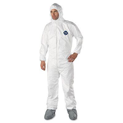 DuPont Tyvek Elastic-Cuff Hooded Coveralls With Attached Boots, White, Size 3...