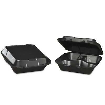 Genpak Snap-It Foam Hinged Carryout Container, 3-Compartment, Black, 8-1/4x8x3,