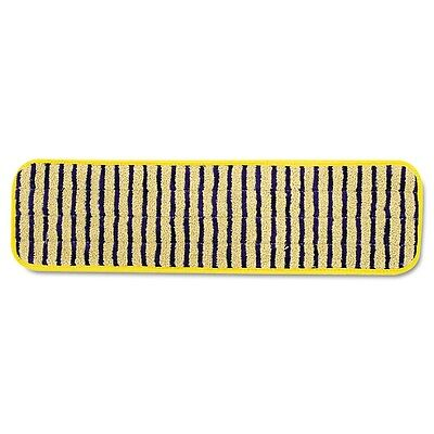 Microfiber Scrubber Pad, Vertical Polyprolene Stripes, 18'', Yellow, 6/Carton