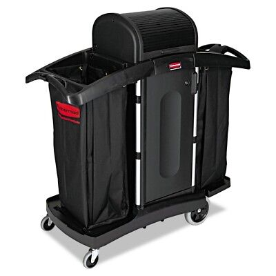 High-Security Housekeeping Cart, Two-Shelf, 22 x 51-3/4 x 53-1/2, Black/Silver