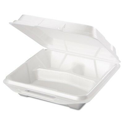 Foam Food Containers, 3-Comp, 9 1/4 x 9 1/4 x 3, White, 100/Bag, 2 Bags/Carton
