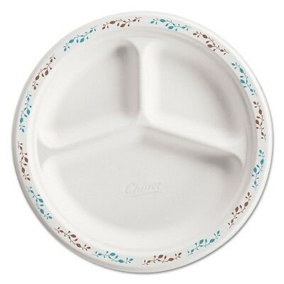 Molded Fiber Plate, 10 1/4'', 3-Comp, White w/Vine Theme, 500/Carton - HUH 22524