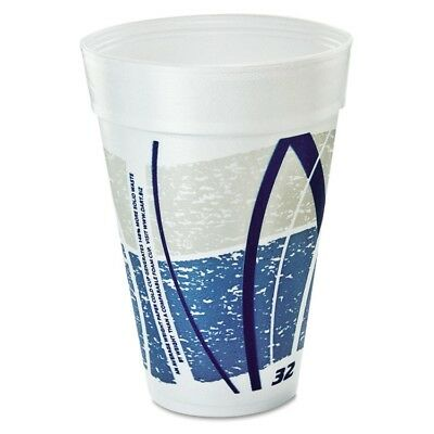Dart Impulse Hot/Cold Foam Drinking Cups, 32 oz., Printed, Blue/Gray, 25/Bag