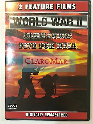 ☀️ World War II Commandos and Five For Hell DVD (2-Feature Films on 1-Disc)