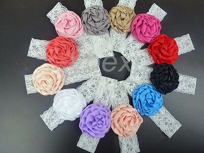 12pcs Baby Girl Kids Toddler Lace Flower Hair Band Elastic Headband Accessory