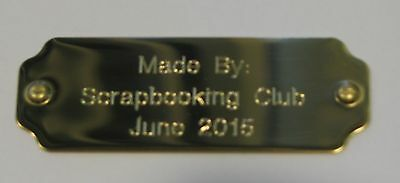 Engraved Brass Plate 63.5x22.5mm Scrapbooking,Trophies,Gift