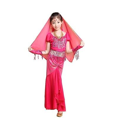 KID/'s Belly dance Costumes Professional Competition sets top/&full skirt/&Gloves