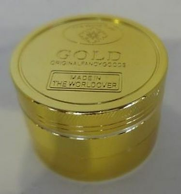 Gold 4 Part Herb Metal Crusher Grinders Gold Magnetic Crusher Pollinator 50mm