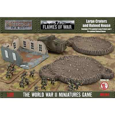 FoW-BB184 - FLAMES of WAR: 15mm; Large Craters & Ruined House