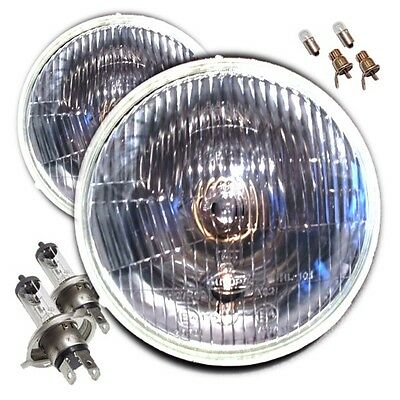 """7"""" Domed Classic Car Sealed Beam H4 Halogen Conversion Headlamps"""
