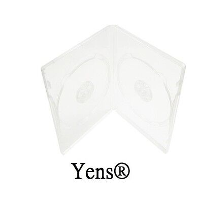 Yens® 100 Premium Standard Clear Double CD DVD Case 14MM Movie Box 100#14CDVD2