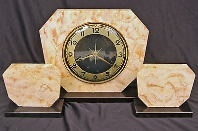 Antique Art Deco Marble Onyx Clock With Garnitures Made In Germany