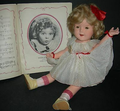 SHIRLEY TEMPLE DOLL - 1930's - IDEAL - ORIG CLOTHES - SHIRLEY MUSIC BOOK inc