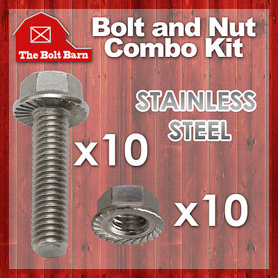 (10) 5/16-18x1-1/4 Stainless Steel Serrated Flange Bolts Screws & (10) 5/16 Nuts