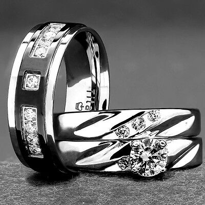 His and Hers Wedding Rings 3 pc ENGAGEMENT CZ 925 Sterling Silver Titanium SET