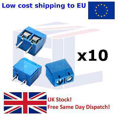 10PCS 2-Pin 2 way Screw Terminal Block Connector 5.08mm Pitch Panel PCB Mount