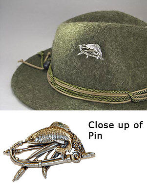 German Bavarian - Austria Oktoberfest Hunter Jaeger - Fish - Fisch - Hat Pin