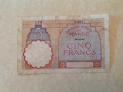 Morocco 1941 Five 5 Francs - France - colonial issue banknote Pick # 23Ab