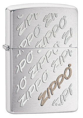 Zippo Windproof Brushed Chrome Lighter With Zippo Logos, 28642, New In Box