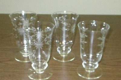 Elegant Glass Etched Crystal Iced Tea Footed Tumblers Goblets Set of 4