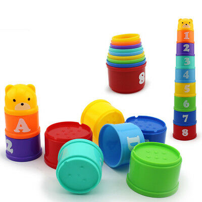 Baby Stacking Cup Set Baby Stacking Tower Educational Game Toy Bath Time Toy New