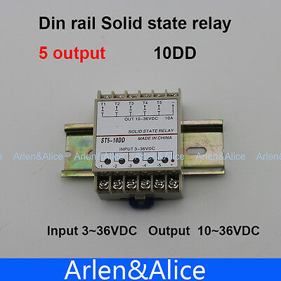 10DD 5 Channel Din rail SSR input 3~36VDC output 10~36VDC solid state relay