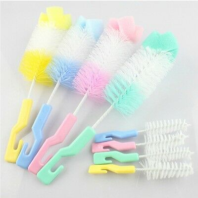 Baby Kids Bottle & Nipple Cleaning Tools Nozzle Spout Teat Clean Brush 4 Color N