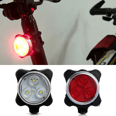 Bicycle Cycling 3 LED Head Front Rear Tail Flashing Lamp Light USB Rechargeable
