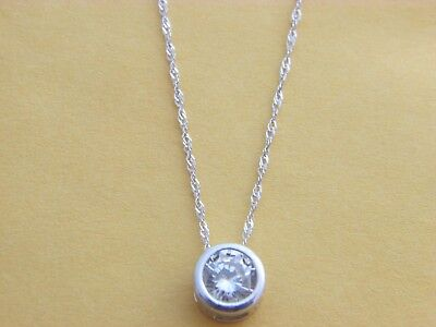 1 ct Real 14k Solid White Gold Round BEZEL set Solitaire Pendant Necklace Chain