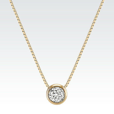 1 ct Real 14k Solid Yellow Gold Round BEZEL set Solitaire Pendant Necklace Chain