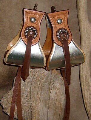 "New 5"" Wide Metal Bound Bell Stirrups For Wade Roper Trail Western Saddle. G&E"