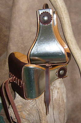 """New USA Made 5"""" Wide Metal Bound Bell Stirrups With Leather Rosettes. G&E"""
