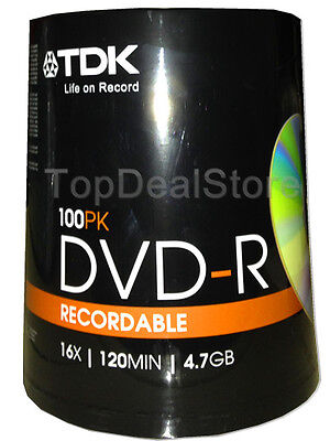 100 TDK DVD-R 4.7GB Blank Recordable Discs 16X 100 Pack Spindle