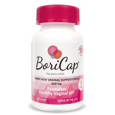 BoriCap Boric Acid Suppositories 30 Capsules Yeast Infection BV Treatment 600mg